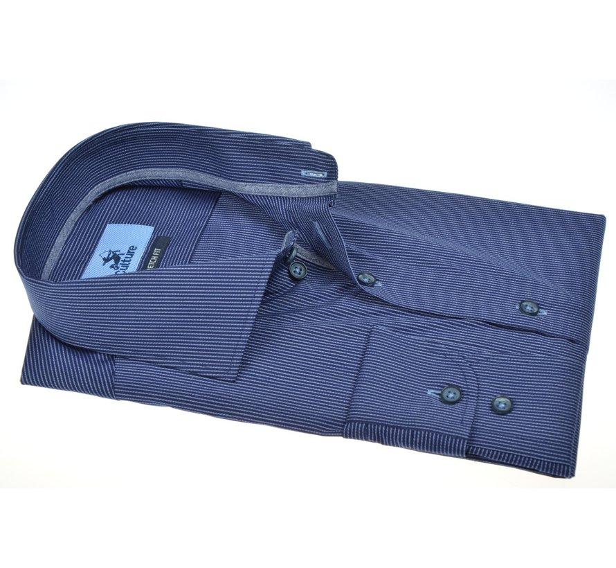 Overhemd Modern Fit Stretch Streep Blauw (514201 - 38)