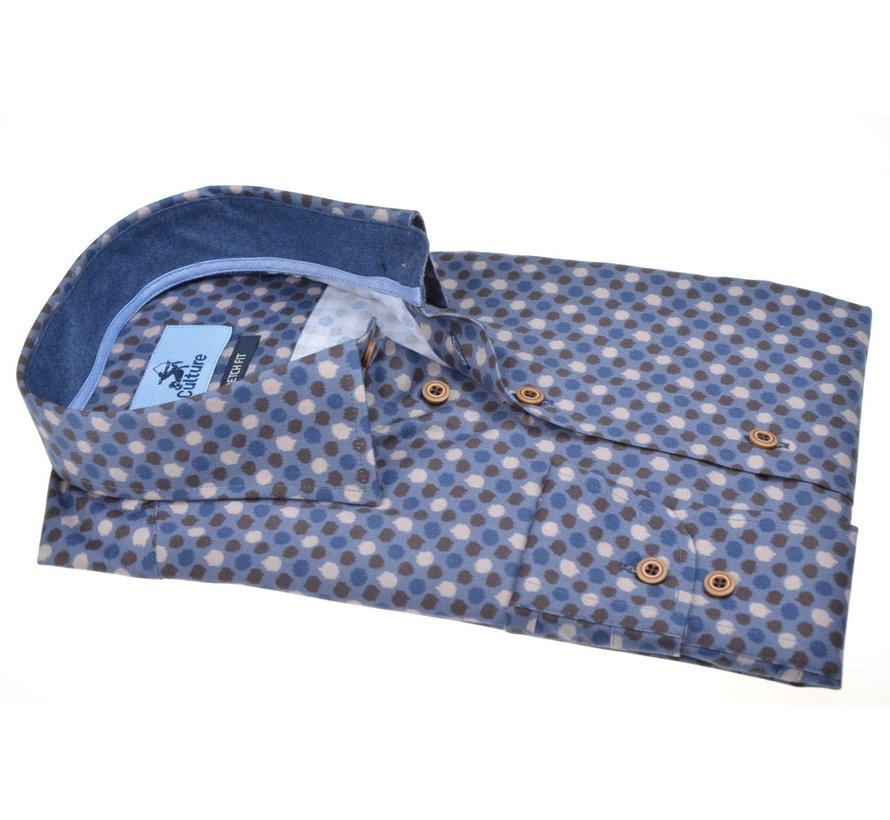 Overhemd Modern Fit Stretch Cirkels Blauw (514212 - 37)