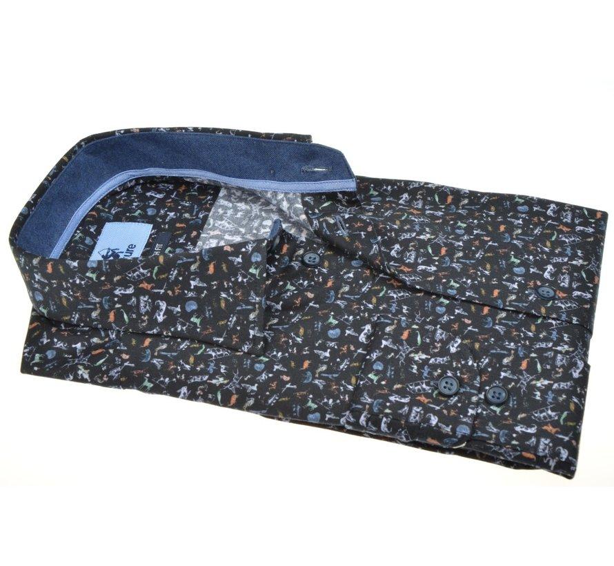Overhemd Modern Fit Stretch Dieren Zwart (514210 - 38)