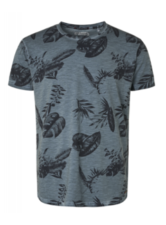 No Excess T-shirt Ronde Hals Print Steel Blauw (95350217 - 123)