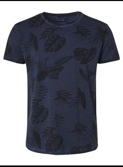 No Excess T-shirt Ronde Hals Print Navy Blauw (95350217 - 078)