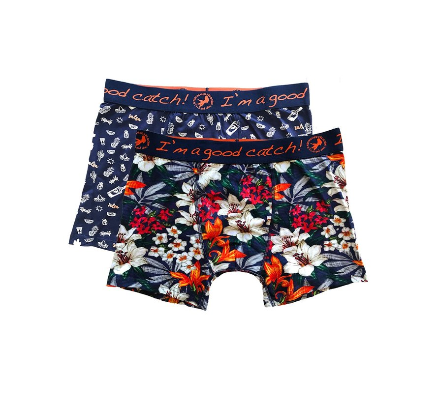 Boxershorts 2-pack Tropical Salsa Navy (20.01.270)