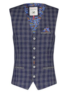 A Fish Named Fred Gilet Blue Grey Woven Checked (21.02.145)