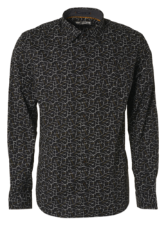 No Excess Overhemd All Over Printed Stretch Black (97450802 - 020)