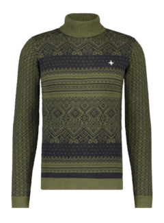 Haze&Finn Coltrui Knit Nordic Jacquard Antraciet/Groen (MA14-0233-Forest Night - Anthracite)