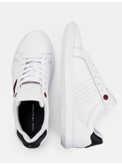 Tommy Hilfiger Leren Sneakers Cup-Sole White (FM0FM03424 - YBR)