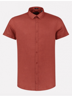 Dstrezzed Overhemd Korte Mouw Linnen Stone Rood (311224 - 410)