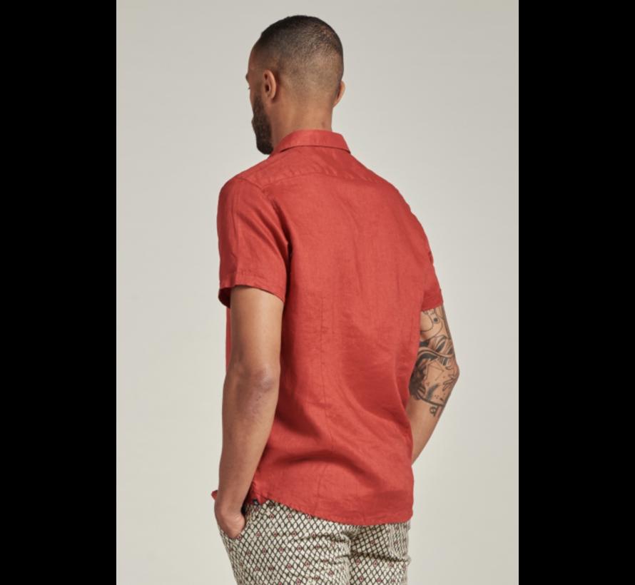 Overhemd Korte Mouw Linnen Stone Rood (311224 - 410)