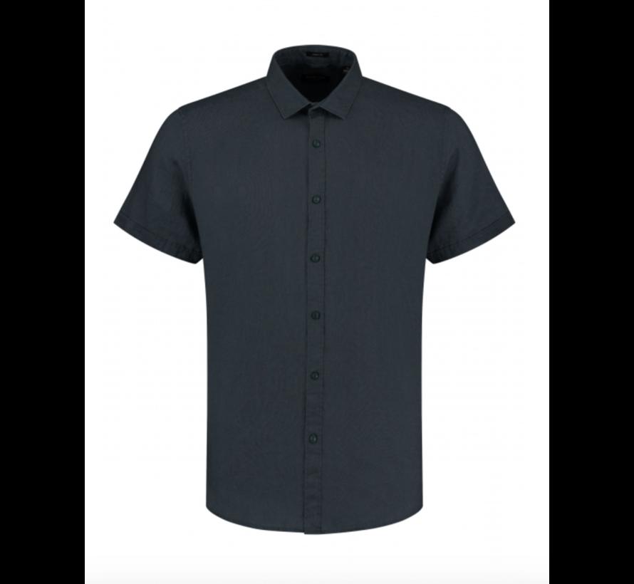 Overhemd Korte Mouw Linnen Navy Blauw (311224 - 649)