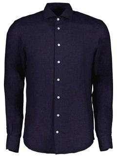 Cavallaro Napoli Overhemd Leo Linnen Dark Blue (110211057 - 699000)