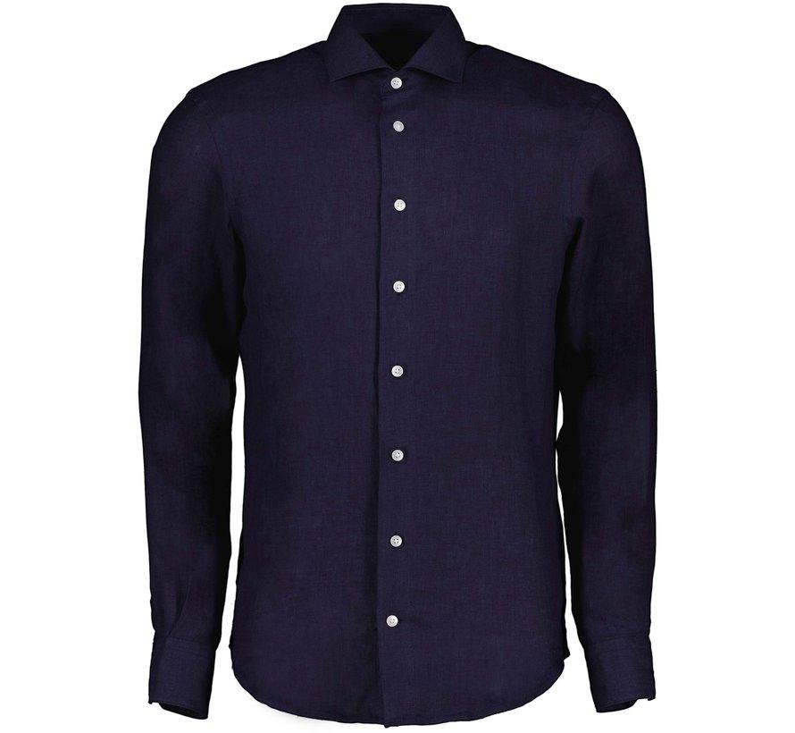 Overhemd Leo Linnen Dark Blue (110211057 - 699000)