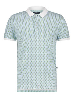 Haze&Finn Polo Korte Mouw Print Wit (MC15-0310 - White-RetroStripes)