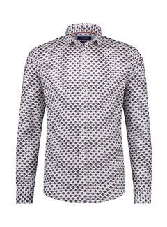 Haze&Finn Overhemd Print Wit/Navy Blauw (MC15-0100-13 - White-NavyFlower-Rhubarb)