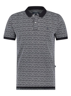 Haze&Finn Polo Korte Mouw Navy/Wit 3D Print (MC15-0310 - Navy-White3DGraphic)