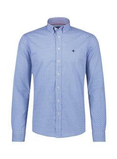 Haze&Finn Overhemd Print Azure Blauw (MC15-0110-23 - AzureBlueFlowerLeaf)