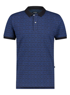 Haze&Finn Polo Korte Mouw Navy Blauw (MC15-0310 - Navy-AzurBlue3DGraphic)
