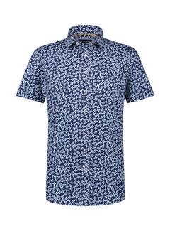 Haze&Finn Overhemd Print Navy Blauw (MC15-0101-42 - Navy-BigFlowers)