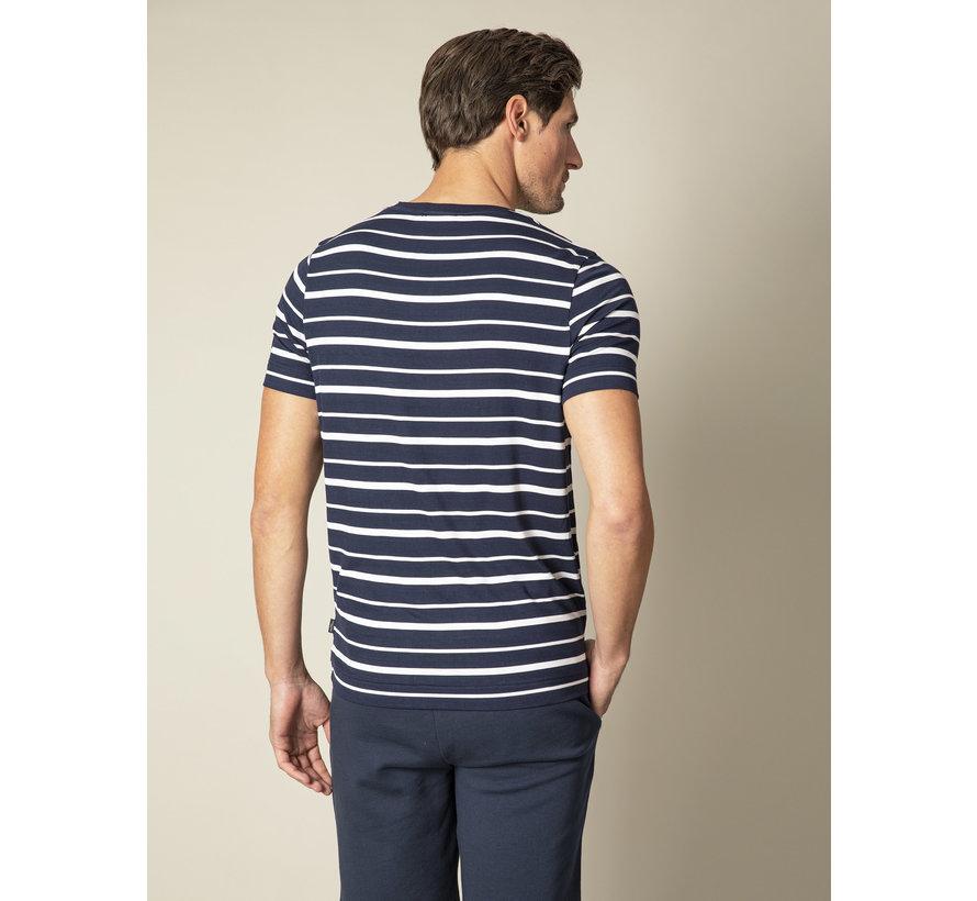 T-shirt Marino Streep Donker Blauw (117211002-699000)