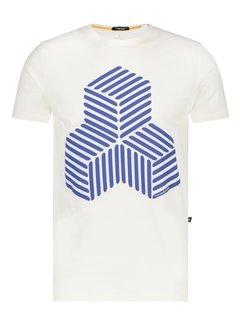 Haze&Finn T-shirt 3D Design Wit (MC15-0007 - White-Navy)