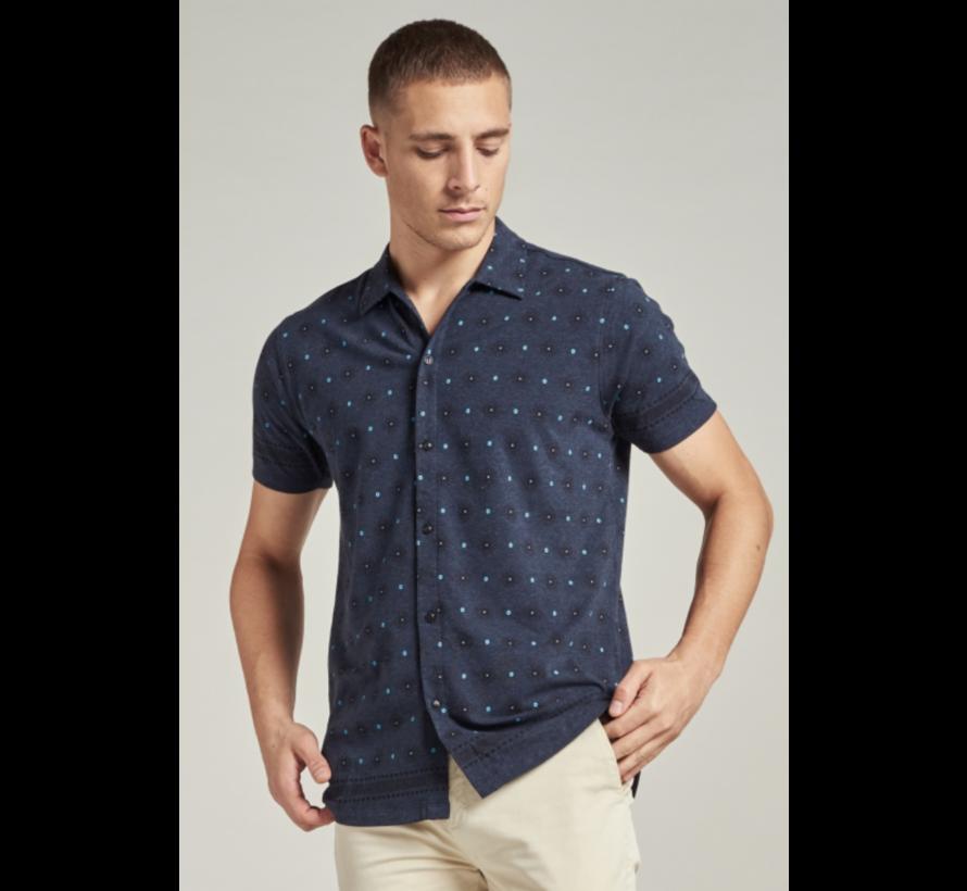 Overhemd Graphic Stretch Jersey Navy Blauw (311232 - 649)