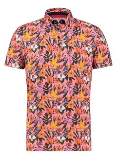 A Fish Named Fred Korte Mouw Polo Floral Jersey Pink (22.03.333)