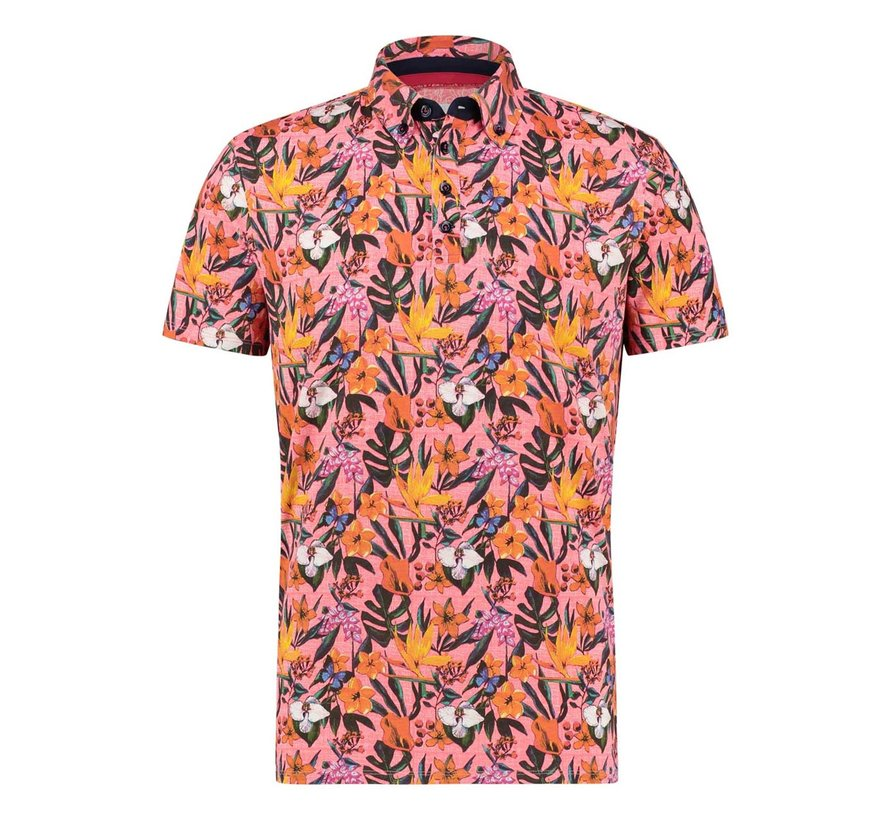 Korte Mouw Polo Floral Jersey Pink (22.03.333)