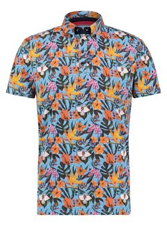 A Fish Named Fred Korte Mouw Polo Floral Jersey Blue (22.03.335)N