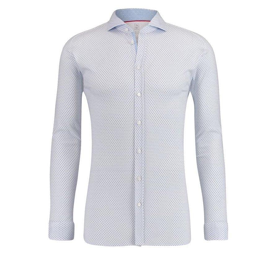 Desoto Jersey Overhemd Print Blauw (80508-3 - 60)