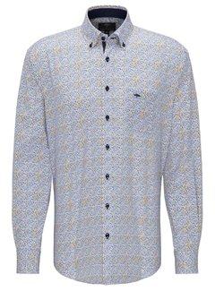 Fynch Hatton Overhemd Print Geel/Blauw (1120 8000 - 8003)