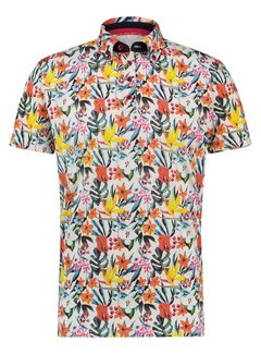 A Fish Named Fred Korte Mouw Polo Floral Jersey Multicolor (22.03.334)