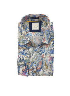 Marnelli Overhemd Hidden Button Down Tailored Fit Ink Flowers Blauw (SH052-5-304)