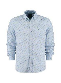 New Zealand Auckland Overhemd Lange Mouw Malte Brun Licht Blauw (21CN566 - 370)
