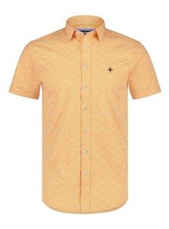 Haze&Finn Overhemd Korte Mouw Print Oranje (MC15-0101-41 - OrangeHusky)