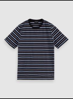 Scotch & Soda T-shirt Ronde Hals Streep Navy Blauw (160854 - 0220)