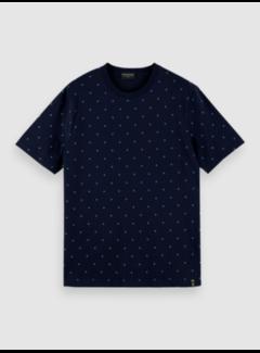 Scotch & Soda T-shirt Ronde Hals Print Navy Blauw (160854 - 0222)