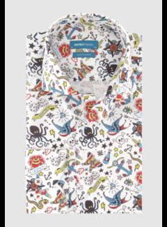 District Indigo Overhemd Oldskool Print Wit (7.02.025.734.336)