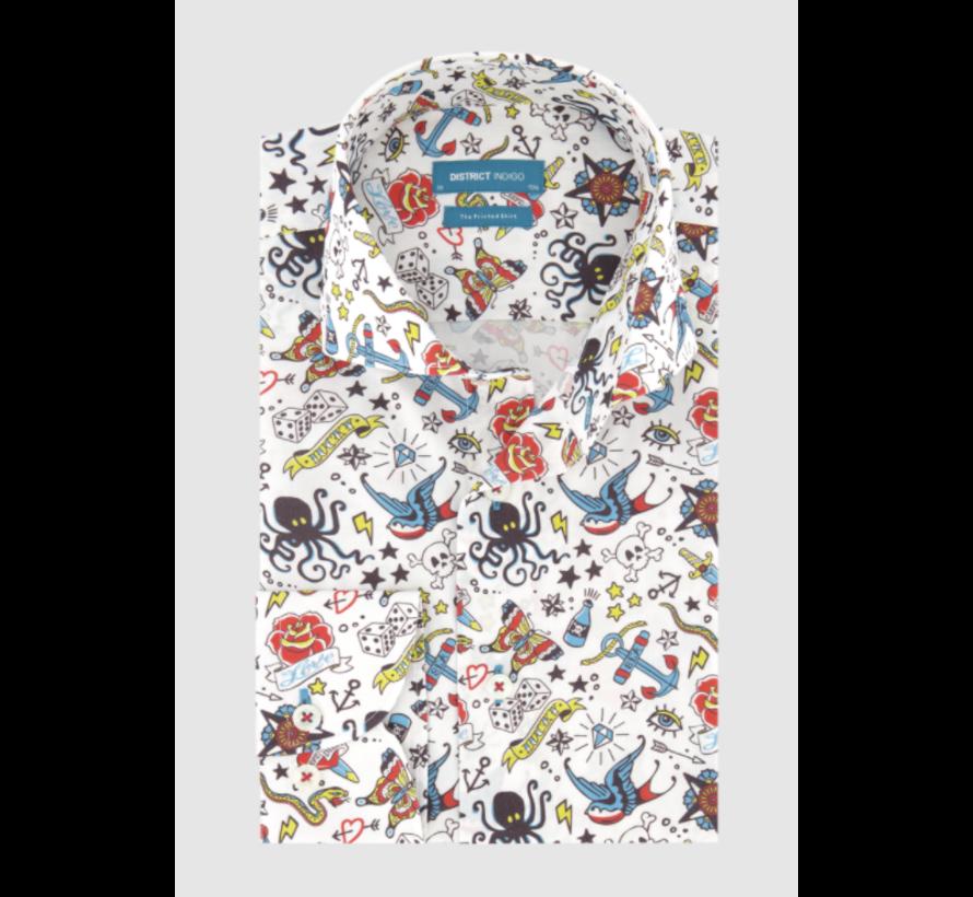 Overhemd Oldskool Print Wit (7.02.025.734.336)
