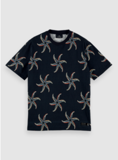 Scotch & Soda T-shirt Ronde Hals Print Navy Blauw (160850 - 0221)
