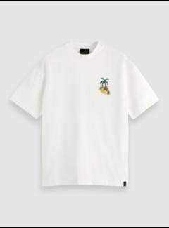 Scotch & Soda T-shirt Ronde Hals Artwork Wit (160861 - 0220)