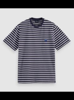 Scotch & Soda T-shirt Organic Cotton Gestreept Navy (161437 - 0217)