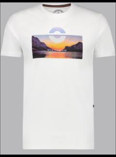 Haze&Finn T-shirt Ronde Hals Wit/Blauw (MU13-0003 - White-LightBlue)