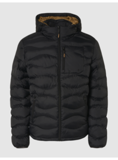 No Excess Winterjas Hooded Padded Wavy Quilted Zwart (97630815SN - 020)N