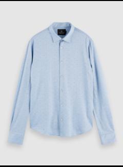 Scotch & Soda Overhemd Slim Fit Print Blauw (158441 - 0217)