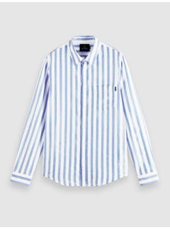 Scotch & Soda Overhemd Relaxed Fit Streep Blauw/Wit (160783 - 0218)