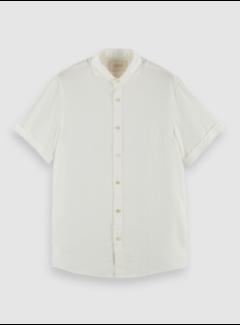 Scotch & Soda Overhemd Korte Mouw Linnen Denim Wit (160791 - 0102)