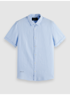Scotch & Soda Overhemd Korte Mouw Linnen Blauw (160791 - 0765)