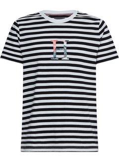 Tommy Hilfiger T-shirt Streep Floral Black/White (MW0MW17670 - 0AP)