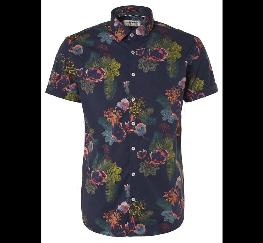 Korte Mouw Overhemd Print Night (95460306 - 078)