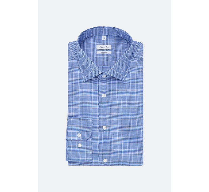 Seidensticker Overhemd Regular Fit Ruit Blauw (01.194320 - 15)