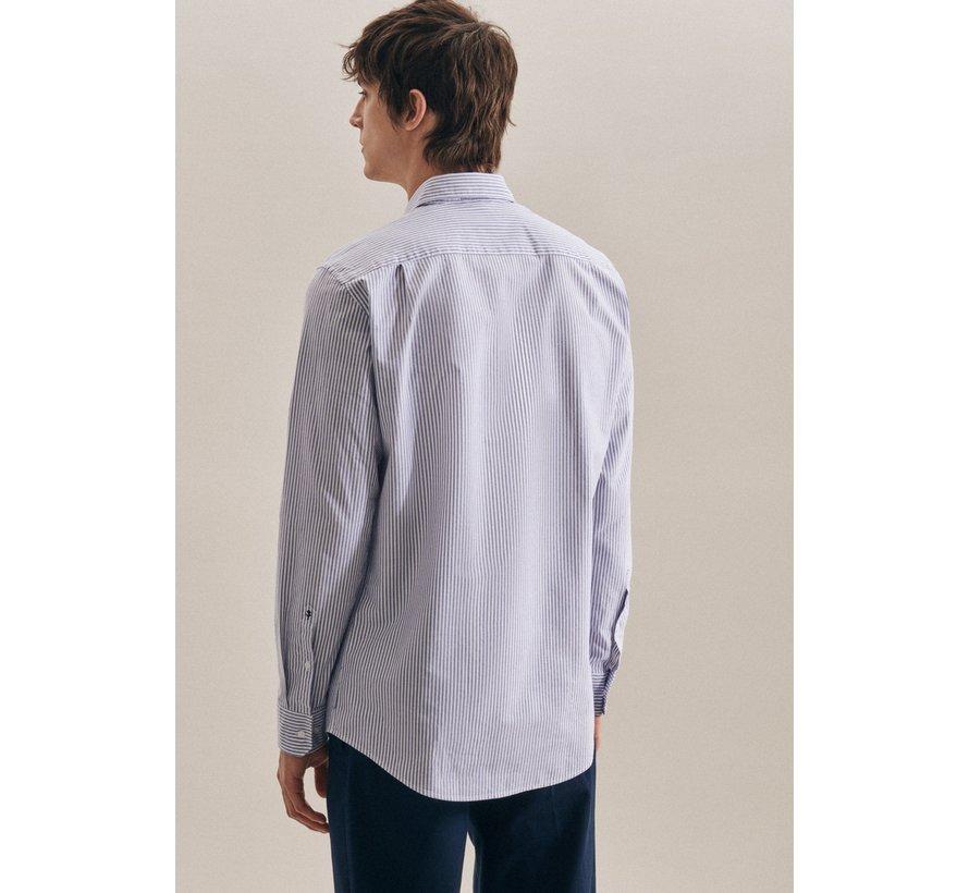 Seidensticker Overhemd Regular Fit Streep Blauw (01.1917642 - 12)